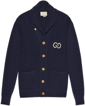 Gucci Rib knit wool cardigan withGG