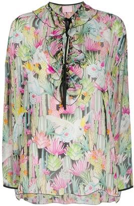 Giamba Floral-Print Ruffled Blouse