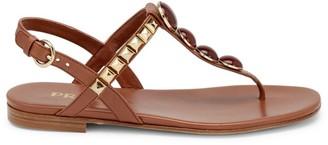Prada Embellished T-Strap Leather Sandals