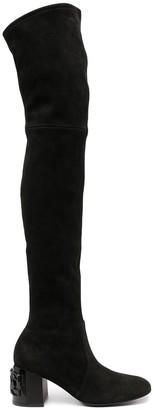Casadei Thigh-High Logo Plaque Boots