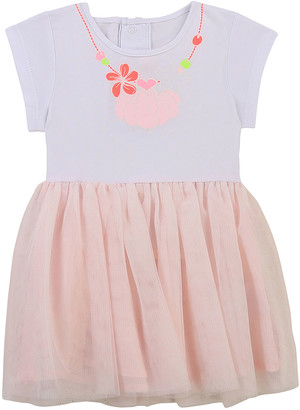 Billieblush Girl's Seashell Necklace Printed Tulle Dress, Size 3M-3