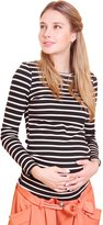 Sweet Mommy Stripe Long Length Maternity and Nursing Tee Shirt Long Sleeve BKWHM