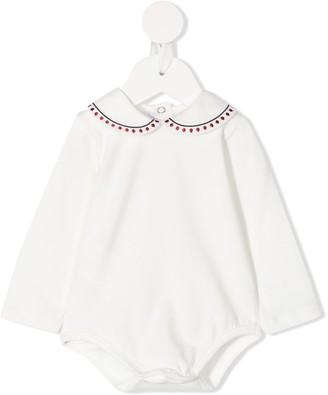 Le Bebé Enfant Embroidered-Collar Bodysuit