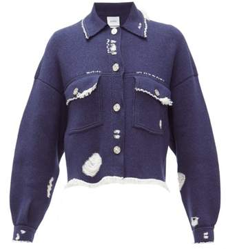 Barrie Distressed Denim-effect Cashmere-blend Jacket - Womens - Dark Blue
