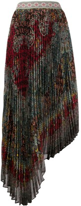 Alice + Olivia Asymmetric Pleated Skirt