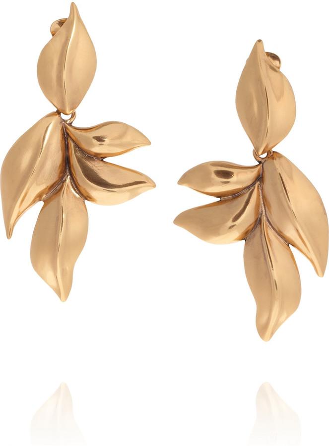 Oscar de la Renta 24-karat gold-plated leaf clip earrings