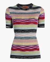 Missoni Rainbow Lurex Striped Knit Tee