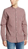 New Look Men's Printed Micro Grandad Checkered Button Front Long Sleeve Casual Shirt