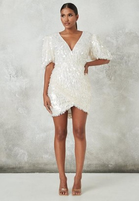 Missguided White Embellished Puff Sleeve Mini Dress