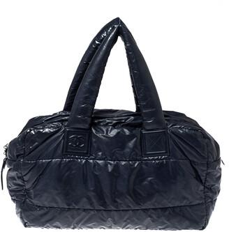 Chanel Navy Blue Nylon Coco Cocoon Bowler Bag