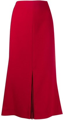 Victoria Beckham Inverted-Pleat Midi Skirt