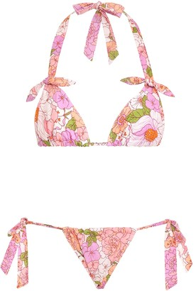 Zimmermann Bells Ruched Tie Bikini