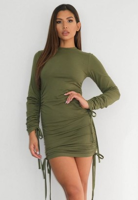 Missguided Green Long Sleeve Ruched Mini Dress
