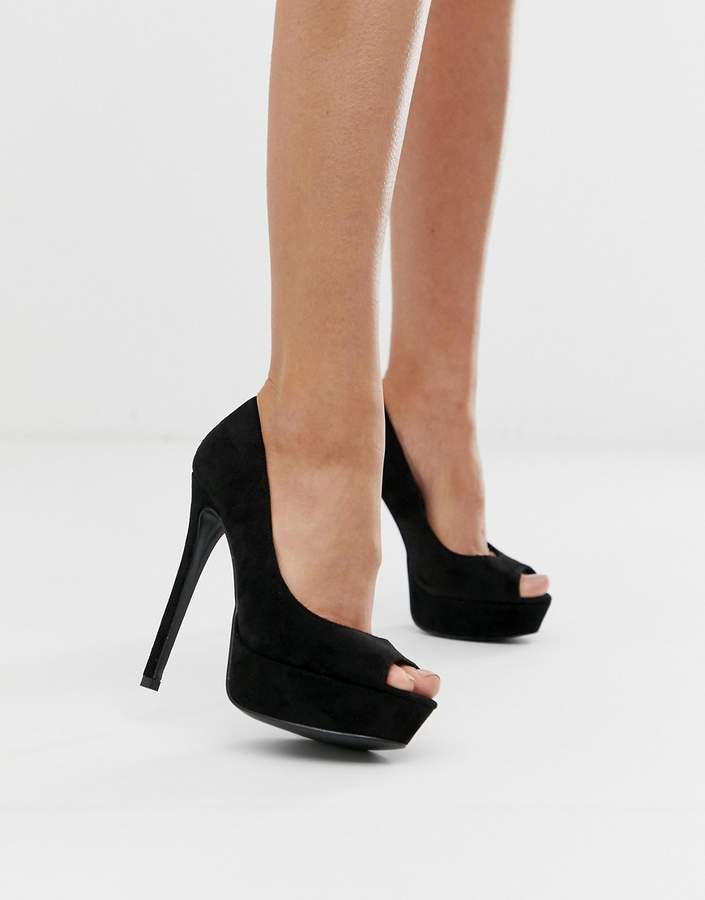 f2549417fb6 peep toe platform heeled shoes in black