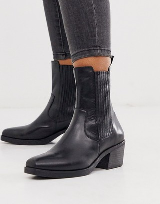 Vagabond Simone black leather western mid heeled ankle boots with square toe