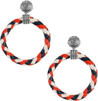 American West Sterling Braided Leather Patriotic Hoop Earrings
