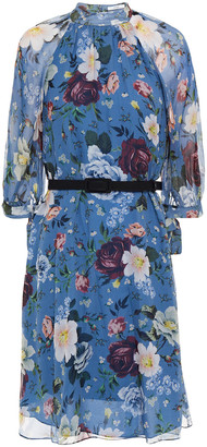 Erdem Melodie Belted Floral-print Silk-georgette Dress
