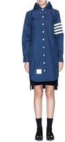 Thom Browne Stripe sleeve detachable hood coat