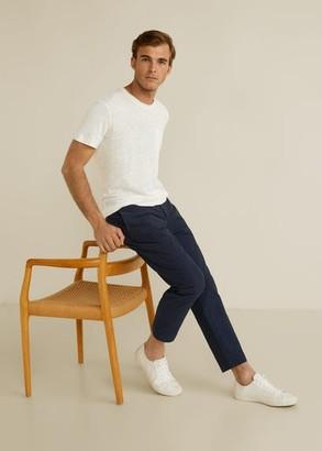 MANGO MAN - Pocket 100% linen t-shirt white - XS - Men