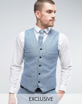 Noak Super Skinny Waistcoat In Fleck Wool