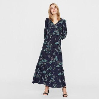 Vero Moda Floral Print Maxi Dress with 3/4 Length Sleeves