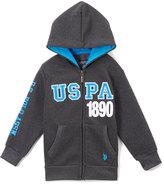 U.S. Polo Assn. Dark Heather Gray & Blue 'USPA' Zip-Up Hoodie - Boys