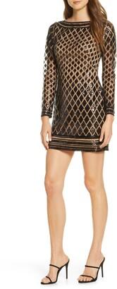 SHO Long Sleeve Diamond Sequin Minidress