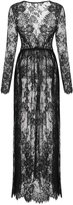 Meaneor Woman's Sexy Deep V-Neck Long Sleeve Lace Beach Dress See-through Maxi Dress