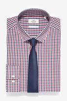 Mens Next Red/Navy Cotton Regular Fit Single Cuff Check Shirt And Tie Set - Red