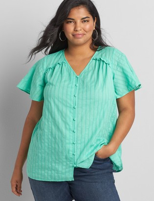 Lane Bryant Flutter-Sleeve Button-Front Tee