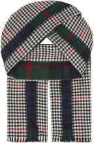 Comme Des Garcons Shirt Tartan Houndstooth Wool Scarf