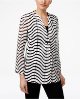 JM Collection Sheer-Striped Faux-Leather Jacket, Only at Macy's