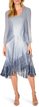 Komarov Lace Trim Charmeuse & Chiffon Tiered Dress with Jacket