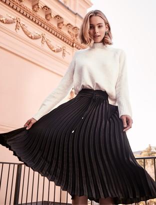 Forever New Cassie Elasticated Pleated Skirt - Black - 14