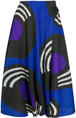 Pleats Please Issey Miyake Graphic-Print Pleated Skirt