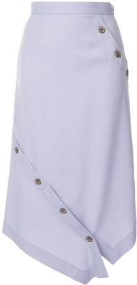 Le Ciel Bleu Button-Detail Asymmetric Skirt