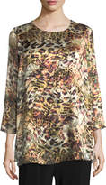 Caroline Rose Leopard Devore Layered Tunic, Plus Size
