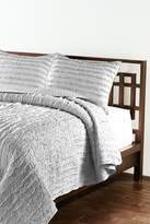 NMK Handcrafted Vertical Ruffled Quilt Set - Light Grey