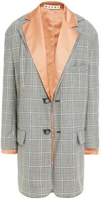Marni Layered Prince Of Wales Checked Jacquard And Satin Jacket
