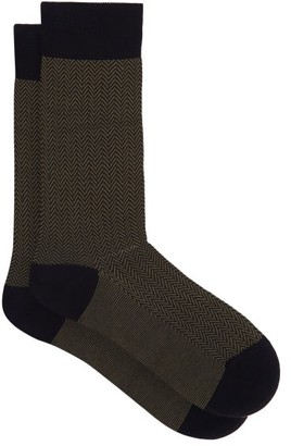 Pantherella Fabian Herringbone Cotton Blend Socks - Mens - Navy