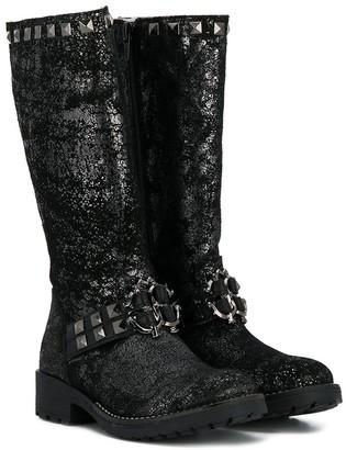 Roberto Cavalli Junior Metallic Studded Knee High Boots