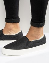 Asos Slip On Sneakers In Gray Felt With Faux Shearling Lining