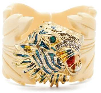 Gucci Crystal Embellished Tiger Head And Leaf Cuff - Womens - White