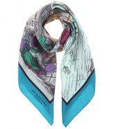 Burberry Raining Cats, Dogs and Pitchforks printed silk scarf