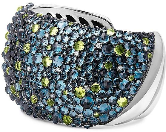 David Yurman Osetra Cuff Bracelet with Hampton Blue Topaz, Peridot and Diamonds