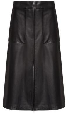 HUGO BOSS Regular Fit A Line Skirt In Lamb Leather - Black