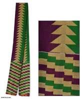 Cotton kente cloth scarf, 'Vital Arrow'