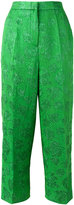 Rochas floral motif cropped trousers - women - Silk/Polyester - 42