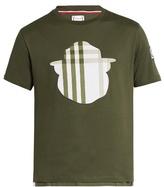Moncler Gamme Bleu Checked-appliqué cotton T-shirt