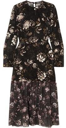 Markus Lupfer Mina Floral-print Devore-velvet And Chiffon Midi Dress